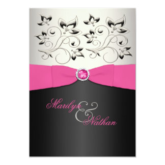 PRINTED RIBBON Pink, Black, Silver Wedding Invite