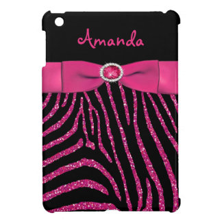 PRINTED RIBBON Pink Glitter Zebra iPad Mini Case