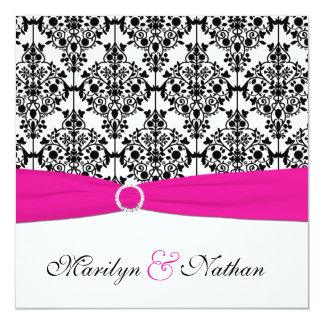 "PRINTED RIBBON Pink White Black Damask Wedding 5.25"" Square Invitation Card"