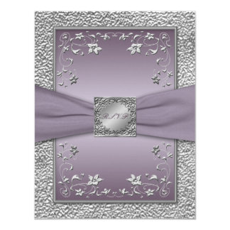 PRINTED RIBBON Plum, Pewter Floral RSVP Card