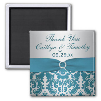 PRINTED RIBBON Silver, Teal Damask Wedding Favor Magnet