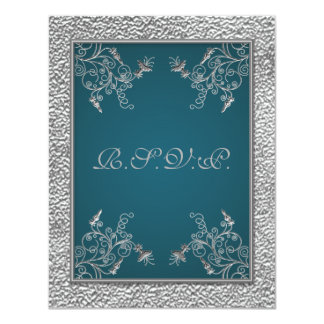 PRINTED RIBBON Teal on FAUX Pewter RSVP Card