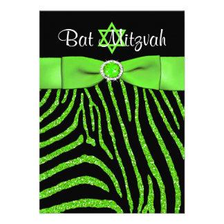 PRINTED RIBBON Zebra Glitter Bat Mitzvah Invite 2