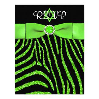 PRINTED RIBBON Zebra, Lime FAUX Glitter RSVP Card