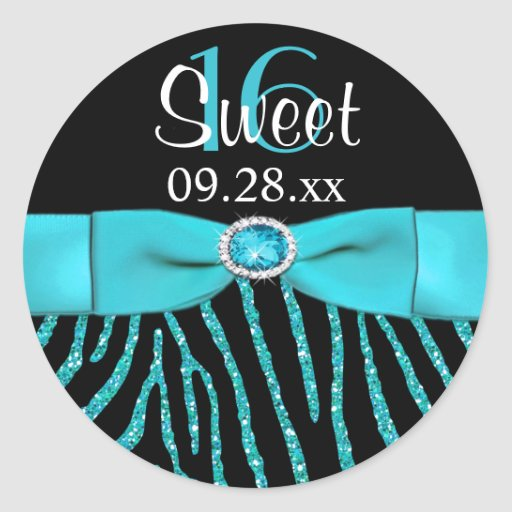 PRINTED RIBBON Zebra Sweet 16 Favor Sticker