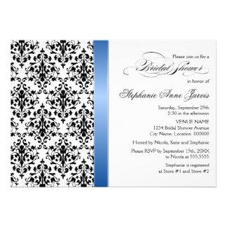 Printed Royal Blue Ribbon Damask Bridal Shower Custom Announcements