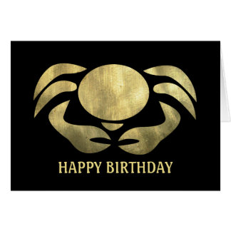 Printed Rustic Gold Cancer Crab Birthday Greeting Card