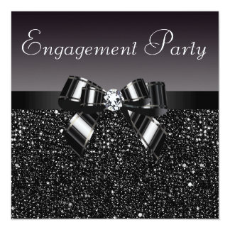 "Printed Sequins, Bow & Diamond Engagement Party 5.25"" Square Invitation Card"