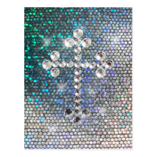 Printed Silver Bling Cross Postcard