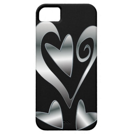 Printed Silver effect  hearts on Black iPhone 5 Case