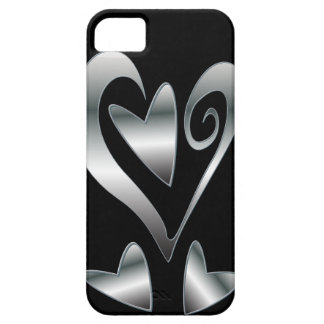 Printed Silver effect  hearts on Black iPhone 5 Covers