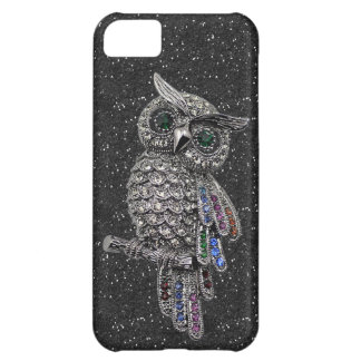 Printed Silver Owl & Jewels Black Glitter iPhone 5C Cases