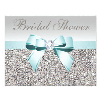 Printed Silver Sequin Teal Bow Image Bridal Shower Card