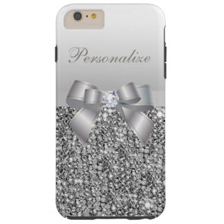 Printed Silver Sequins, Bow & Diamond Image Tough iPhone 6 Plus Case