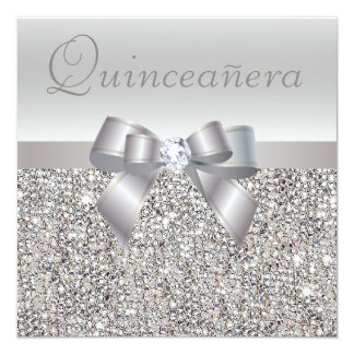 "Printed Silver Sequins, Bow & Diamond Quinceanera 5.25"" Square Invitation Card"