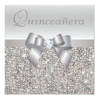 "Printed Silver Sequins, Bow & Diamond Quinceanera 5.25"" Square Invitation Card"