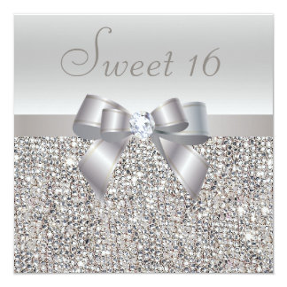 "Printed Silver Sequins, Bow & Diamond Sweet 16 5.25"" Square Invitation Card"