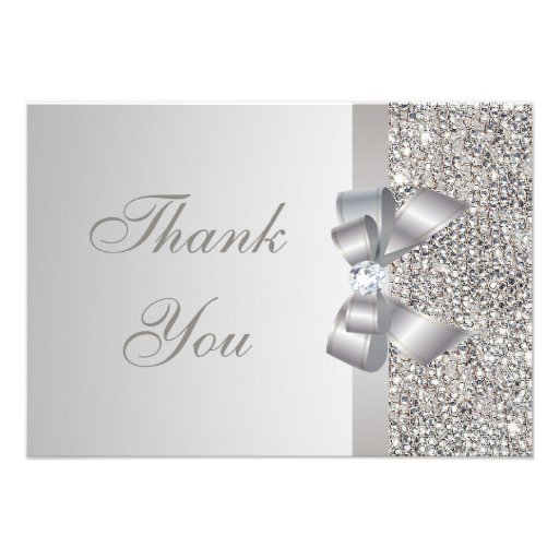 Printed Silver Sequins, Bow & Diamond Thank You Personalized Invitations