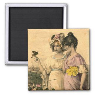 Printemps Springtime Young Women Vintage Art Square Magnet