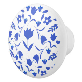 printing blue flowers ceramic knob