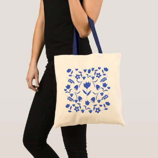 printing blue flowers tote bag