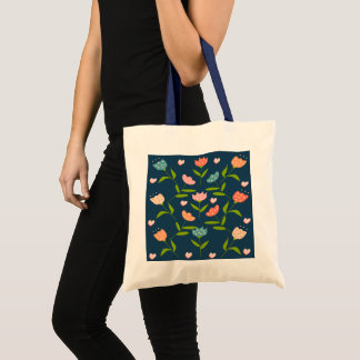 printing flowers tote bag