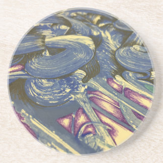 Printmaking Magic in Blues and Purples Coaster