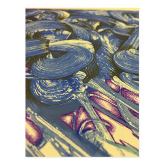 Printmaking Magic in Blues and Purples Postcard
