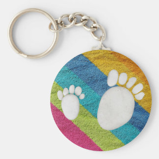 Prints of feet out of rollers keychain