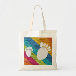 Prints of feet out of rollers tote bag