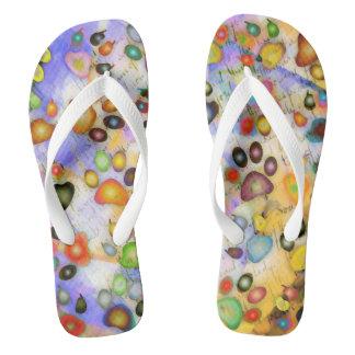 Prints of legs flip flops