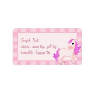 Priscilla the Pink Pony with striped border Label