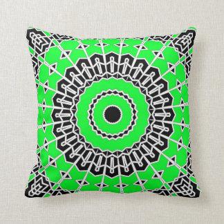 Prism Mandala ( Green ) Throw Pillow
