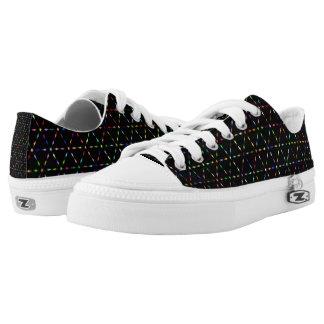 Prismatic Geometric Lines Black Low Top Shoes