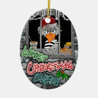 Prison Christmas Ornament: Worst Christmas Ever! Ceramic Oval Ornament