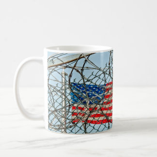 Prison Fence and Flag Coffee Mug