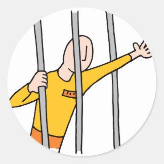 Prisoner Behind Bars Round Sticker