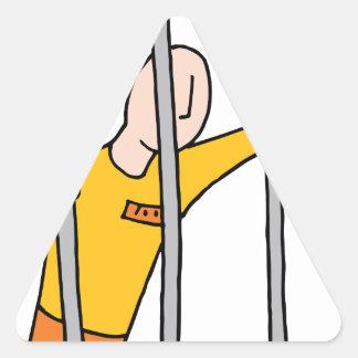 Prisoner Behind Bars Triangle Sticker