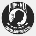 Prisoner of War - Missing in Action Round Sticker