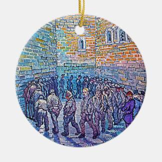Prisoners Walking The Round Round Ceramic Ornament