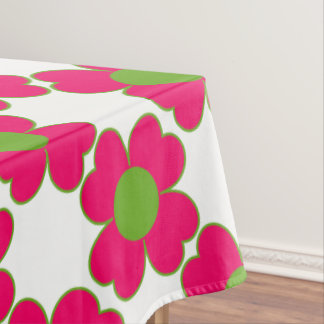 Prissy Pink and Green Apple Heart Flowers Tablecloth
