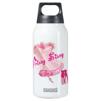 PRISSY SISSY - Pink Feathered Corset Insulated Water Bottle