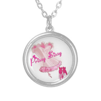 PRISSY SISSY - Pink Feathered Corset Silver Plated Necklace