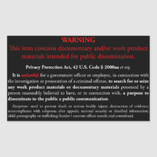 Privacy Protection Act sticker, black rectangle Sticker