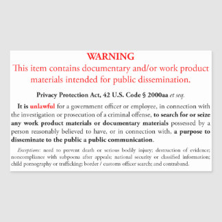 Privacy Protection Act sticker, white rectangle Sticker
