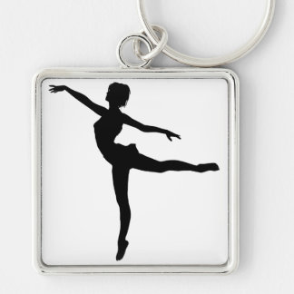 PRIVATE DANCER (silhouette - modern dance) ~ Silver-Colored Square Keychain