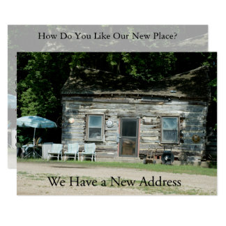 Private Funny Change of Address Card: Log Cabin Card