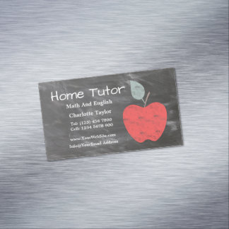 Private Home Tutor Apple Scrubbed Style Chalkboard Business Card Magnet