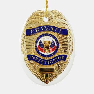 Private Investigator Badge Ceramic Ornament