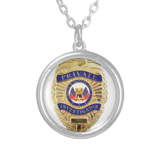 Private Investigator Badge Silver Plated Necklace
